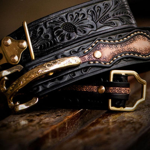 Handmade Black Cool Leather Tooled Mens Belt Leather Men Belts for Men
