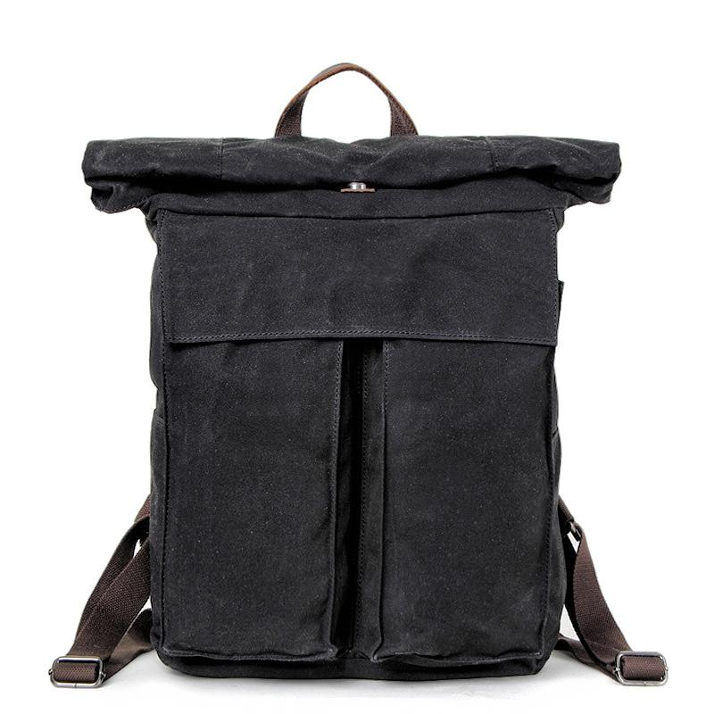 Cool Waxed Canvas Mens Waterproof 15.6'' Travel Backpack Hiking Backpack for Men