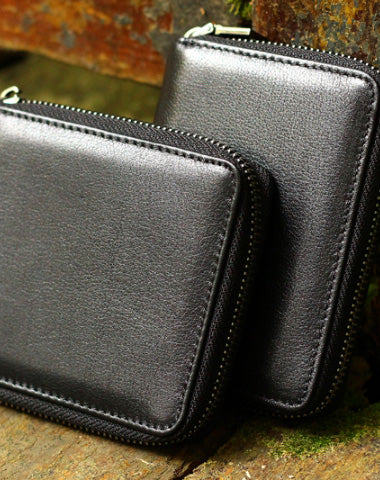 Handmade Genuine Leather Wallet Short Leather Wallet Slim Bifold Wallet Bag For Womens