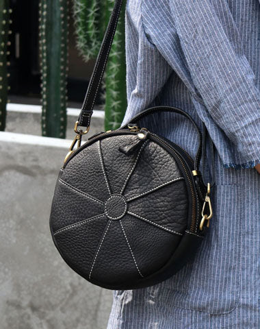 Fashion Womens Leather round purse circle bag circle handbag round handbag for women