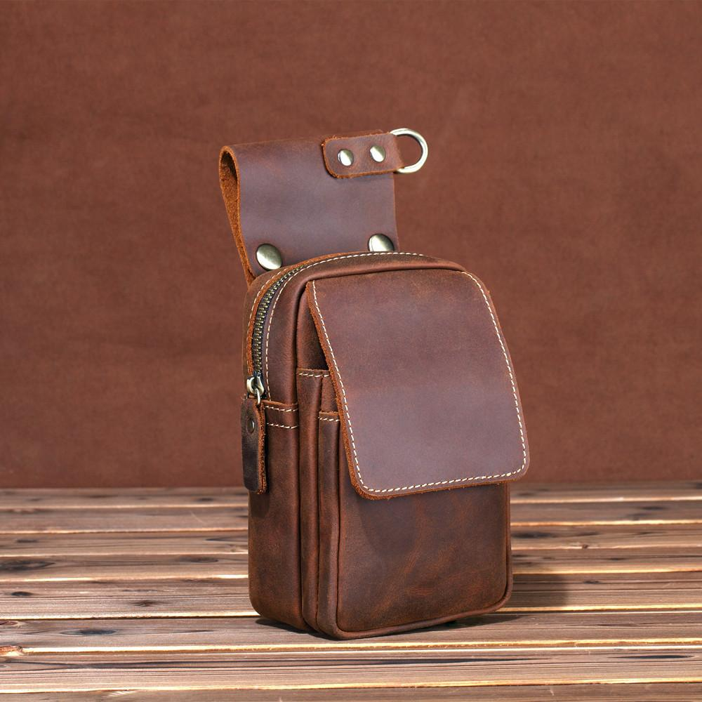 Brown Leather Cell Phone HOLSTER Mens Belt Pouches Waist Bags BELT BAG Sports Bag For Men
