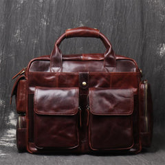 Black Oiled Leather Men's Professional Briefcase 13'' Laptop Handbag Business Bag For Men