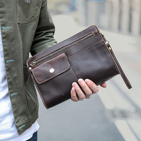 Cool Business Leather Mens Small Messenger Bag Wristlet Bag Side Bag Purse Clutch For Men