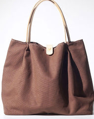 Handmade Coffee Canvas Leather Womens Tote Purse Handbag Tote Shopper Bag for Women