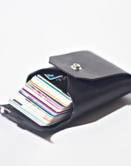 Handmade LEATHER Black Womens Small Card Wallet Leather Change Wallet FOR Women