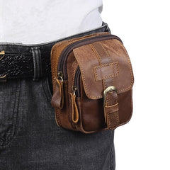 Vintage Brown Leather Men's Cell Phone Holster Belt Pouch Belt Bag For Men