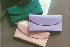 Genuine Leather Cute Long Slim Wallet Trifold Clutch Passport Wallet Purse For Women Girl