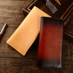 Casual Retro Leather Mens Wine Red Slim Long Wallet Light Beige Bifold Card Wallet Clutch Wallet For Men