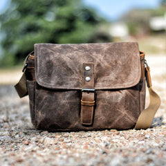 Cool Waxed Canvas Leather Mens Casual Waterproof Messenger Bag Camera Bag Side Bag For Men