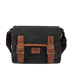 Black Canvas Leather Mens Side Bag Messenger Bags Army Green Canvas Courier Bag for Men