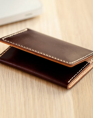 Handmade Leather Womens Small Card Wallet Front Pocket Wallet Card Holder for Women