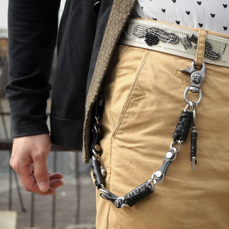 Cool Men's Leather Silver Chain Long Biker Wallet Chain Pants Chain For Men