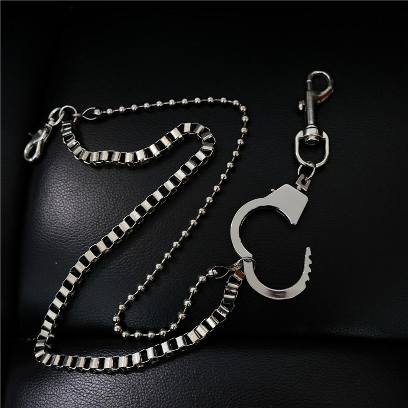 Fashion Men's Silver Double Long Pants Chain Punk Biker Wallet Chain For Men