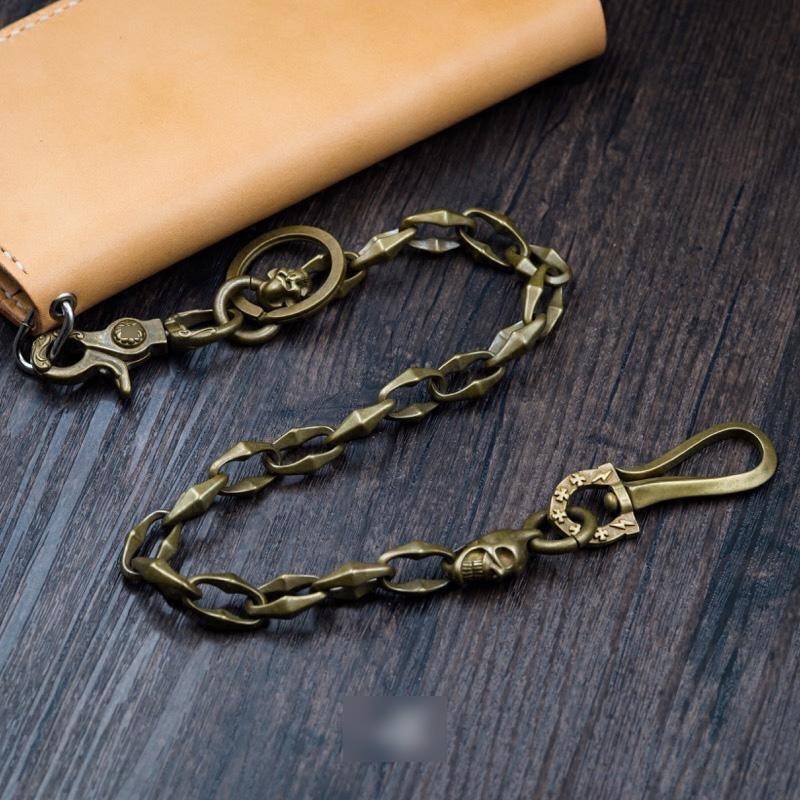 Cool Handmade Men's Pure Brass Skull Chain Pants Chains Biker Wallet Chain For Men