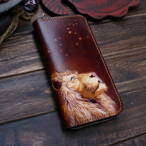 Dark Coffee Handmade Tooled Lion Leather Mens Bifold Long Wallet Zipper Clutch For Men