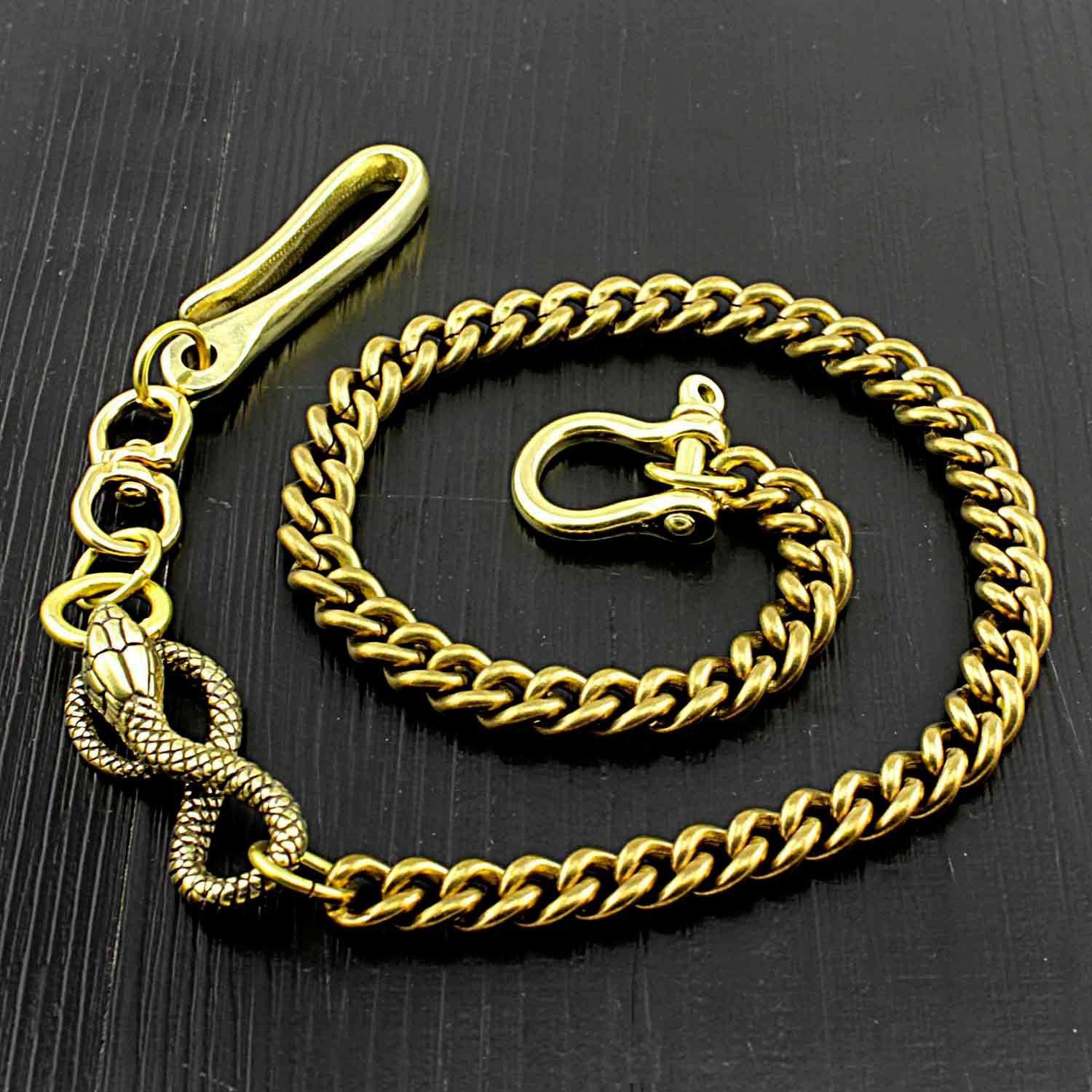 Cool Gold Long Snake Pants Chain Wallet Chain Long Biker Wallet Chain For Men