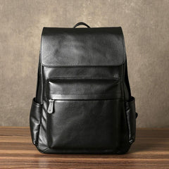Genuine Leather Mens Cool Backpack Large Black Travel Backpack Hiking Backpack for men