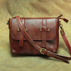 Vintage Brown Leather Men's Side Bag Messenger Bag Brown Courier Bag For Men