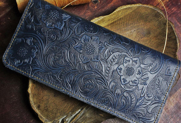 Handmade Long Leather Wallet Floral Bifold Leather Purse Wallet Clutch For Men Women