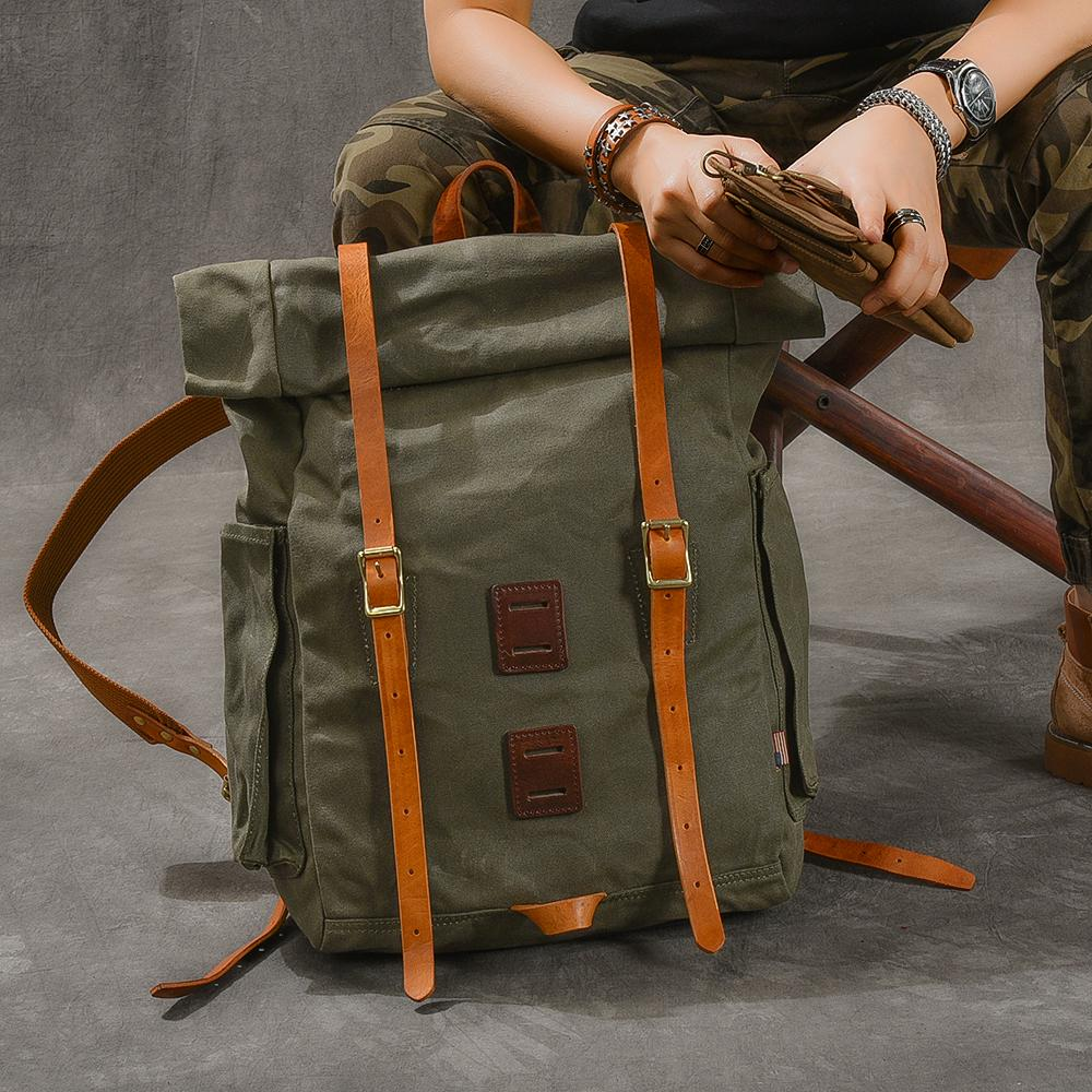 "Cool Canvas Leather Mens Womens 16"" Army Green Hiking Backpack Travel Backpack College Backpack  for Men"