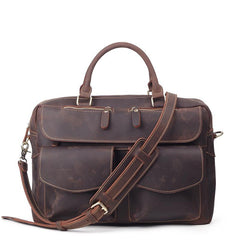 Vintage Brown Leather Men's 15'' Computer Briefcase Handbag Professional Briefcase For Men