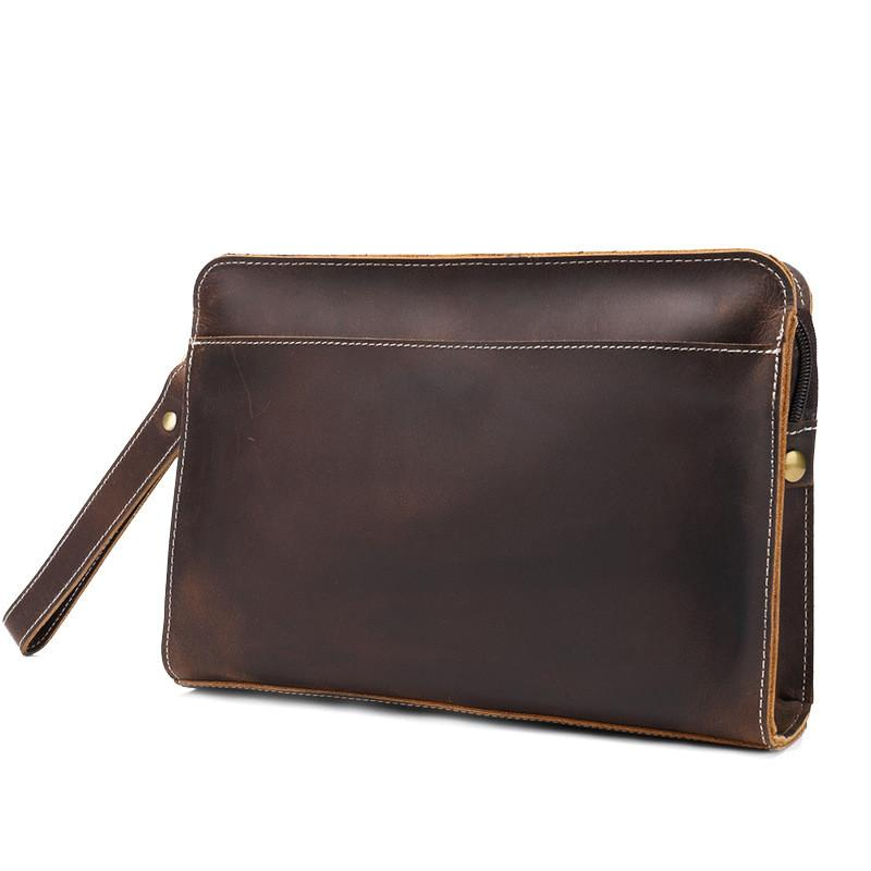 Cool Leather Mens Clutch Bag Wristlet Bag Clutch Wallet Business Clutch for Men