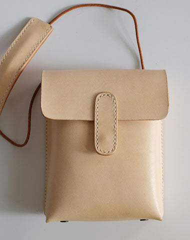 Handmade Leather Beige Womens Small Phone Crossbody Purse Shoulder Bags for Women