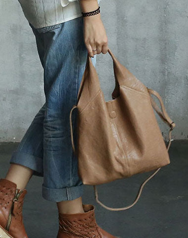 Handmade LEATHER WOMENs Small Shopper Tote SHOULDER Tote BAG FOR WOMEN