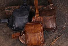 Leather Mens Cool Chest Bag Sling Bag Sling Crossbody Bag Travel Sling Bag for men