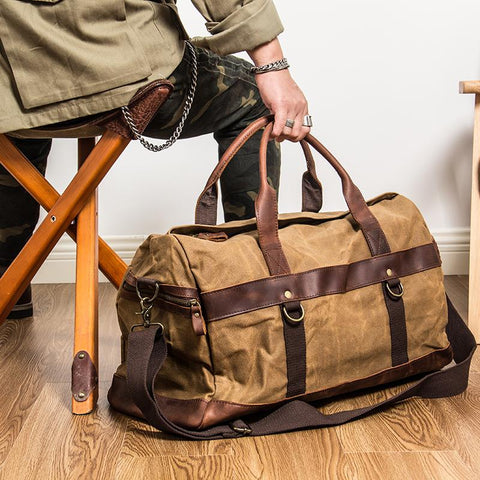 Khaki Waxed Canvas Leather Mens Waterproof Large Weekender Bag Travel Bag Luggage Bag for Men