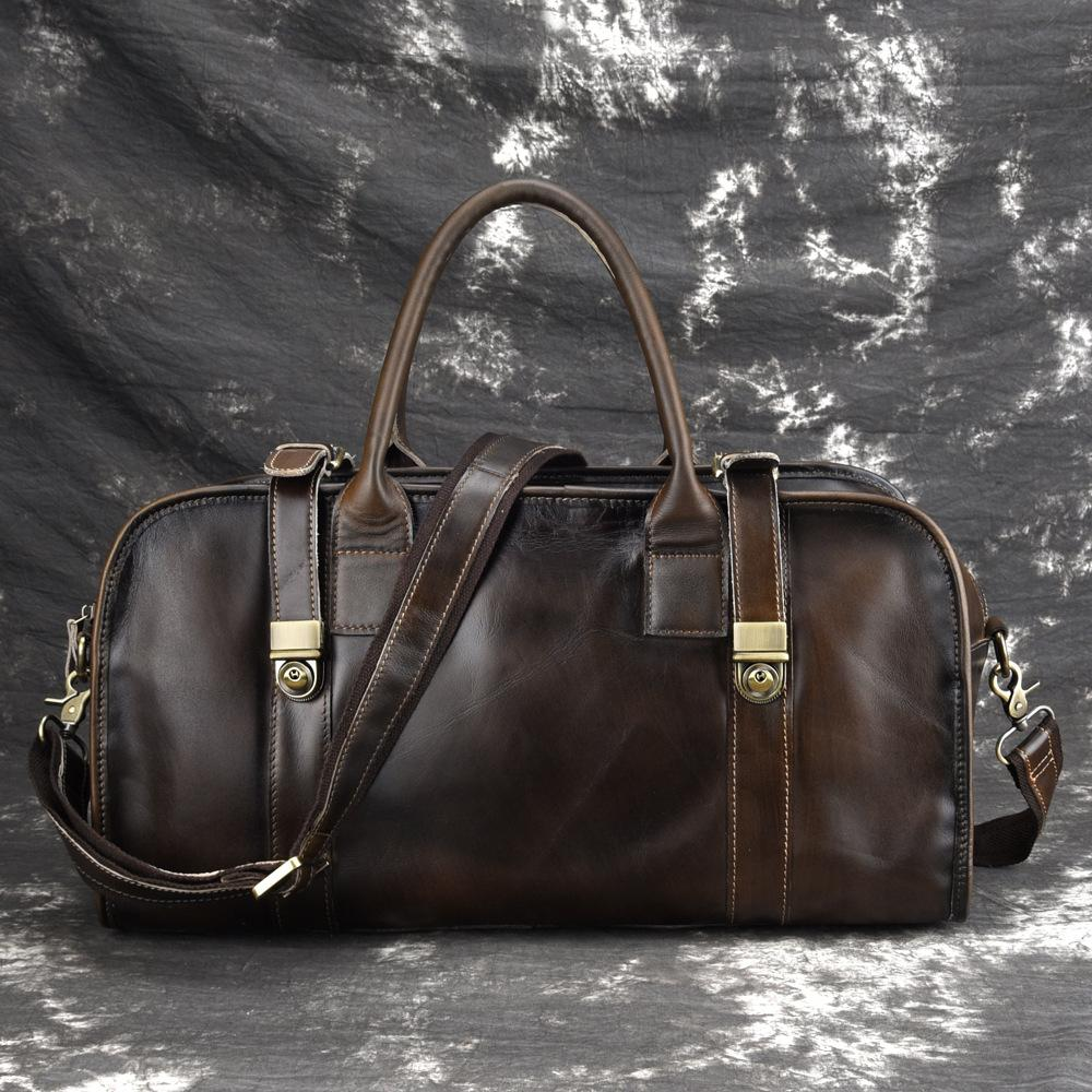 Casual Vintage Leather Men's Large Weekender Bag Travel Bag Overnight Bag For Men