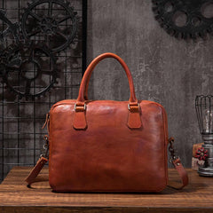 Cool Leather Mens Briefcase 14inch Laptop Bags Work Handbag Business Bag for Men