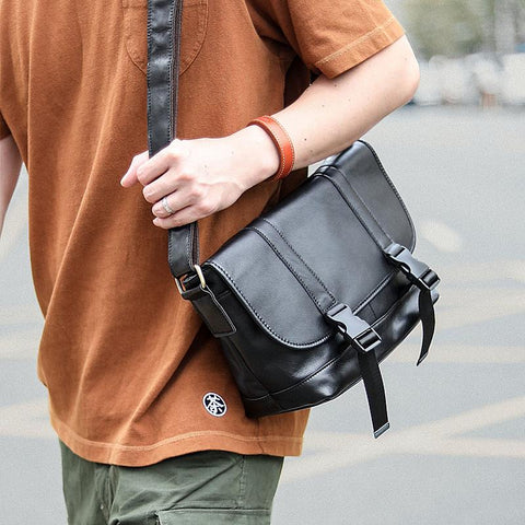 Black Leather Mens Casual Side Bag Courier Bag Black Messenger Bags Black Postman Bag For Men
