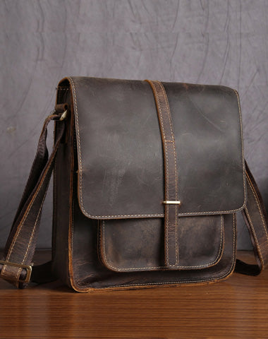 Handmade Leather Small Messenger Bag Shoulder Bag For Men