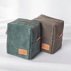 Small Canvas Leather Mens Box Bag Zipper Storage Bag Purse Clutch for Men