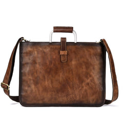Vintage Brown Leather Men's 12'' Laptop Briefcase Handbag Slim Professional Briefcase For Men