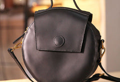 Handmade handbag purse leather round crossbody bag purse shoulder bag for women
