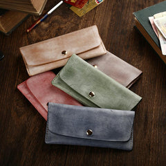 Handmade Mens Leather Blue Envelope Bag Long Wallet Phone Bag Green Clutch for Men