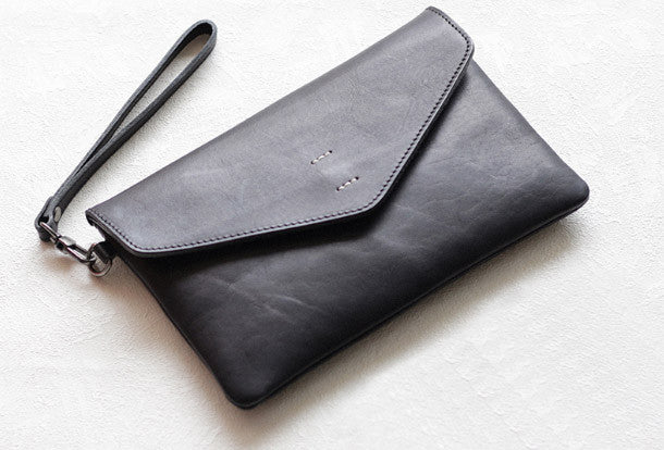 4189ced71dda Handmade Genuine leather bifold envelope clutch purse long wallet purs