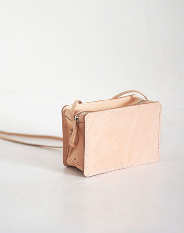 Handmade Leather Beige Womens Small Box Shoulder Purse Crossbody Bag for Women