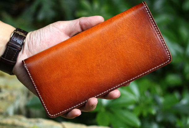 Mens Long Leather Wallet Bifold Vintage Long Wallet For Men