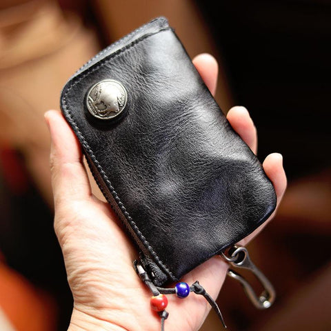 Cool Black Leather Mens Charcoal Key Wallet Coin Purse Front Pocket Wallets For Men