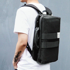 Cool PVC Canvas Men's Black Messenger Bag Travel Backpack 15.5'' Blue Handbag For Men