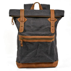 Green Waxed Canvas Leather Mens Cool Backpack Canvas Travel Backpack Canvas School Backpack for Men