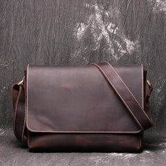 Brown Leather Mens 10 inches SMall Laptop Side Bag Courier Bag Messenger Bag Postman Bag For Men