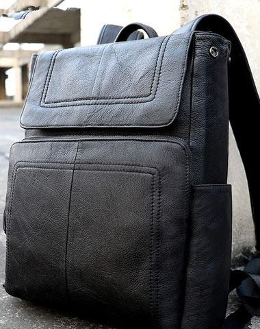 Cool Leather Mens Black Backpack for School Backpacks Travel Backpacks For Men