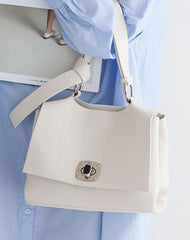 Leather Womens Stylish White Handbag Work Purse Shoulder Bag for Women