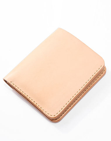 Handmade Leather Minimalist Womens Mens Bifold Small Wallets Short Wallets for Men
