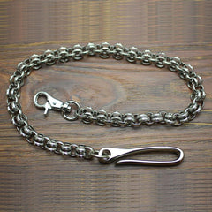 Cool Men's Handmade Stainless Steel Double ring Biker Wallet Chain Pants Chain Wallet Chain For Men