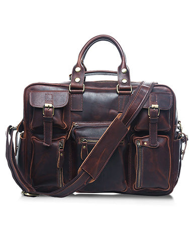 Vintage Leather Mens Large Handbag Weekender Bag Travel Bag